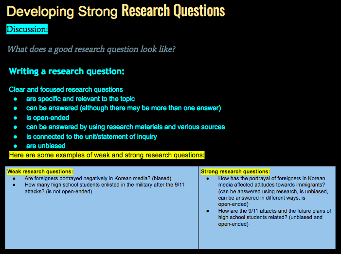 media research questions examples